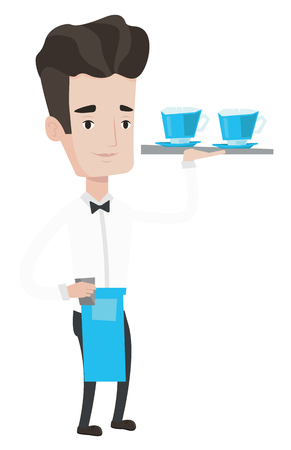 serving tray: Young waiter holding a tray with cups of tea or coffee. Caucasian friendly waiter standing with tray with cups of hot flavoured coffee. Vector flat design illustration isolated on white background.