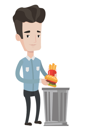 Man putting junk food into a trash bin. Man refusing to eat junk food. Man rejecting junk food. Man throwing away junk food. Diet concept. Vector flat design illustration isolated on white background.