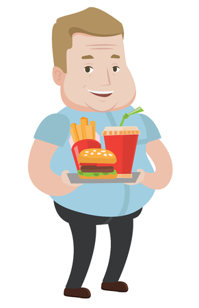 Happy fat man holding tray with fast food. Caucasian fat man having a lunch in a fast food restaurant. Cheerful fat man eating fast food. Vector flat design illustration isolated on white background.