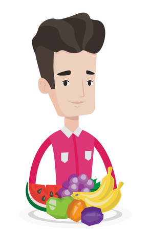 Young man standing in front of table full of fresh fruits. Caucasian man with plate full of fruits. Man eating fresh healthy fruits. Vector flat design illustration isolated on white background. Stock Vector - 83343661