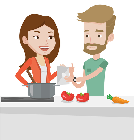 pareja comiendo: Caucasian couple following recipe for healthy vegetable meal on digital tablet. Couple cooking healthy meal. Couple cooking together. Vector flat design illustration isolated on white background.