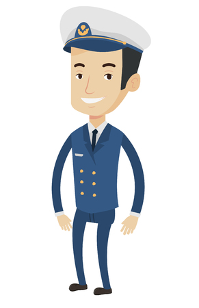 captain cap: Caucasian smiling ship captain in uniform. Illustration of full length of cheerful ship captain standing. Vector flat design illustration isolated on white background.