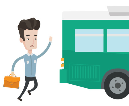 Young businessman running to catch bus. Caucasian man running for a outgoing bus. Man chasing a bus. Latecomer man running to reach a bus. Vector flat design illustration isolated on white background. Illustration