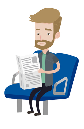 Caucasian man reading newspaper in public transport. Hipster man with beard traveling by public transport. Man sitting in transport public. Vector flat design illustration isolated on white background