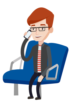 Man using mobile phone while traveling by public transport. Man talking on mobile phone in public transport. Man traveling by public transport. Vector flat design illustration isolated on background. Çizim