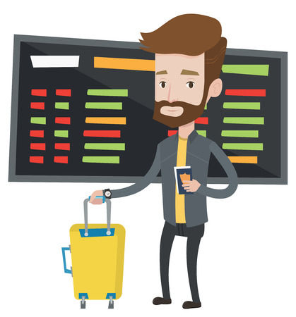 Hipster man waiting for a flight at the airport. Passenger holding passport and airplane ticket. Man with suitcase standing at the airport. Vector flat design illustration isolated on white background