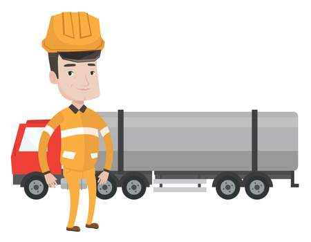 Caucasian refinery worker of oil and gas industry. Refinery worker in hard hat and uniform standing on the background of fuel truck. Vector flat design illustration isolated on white background.