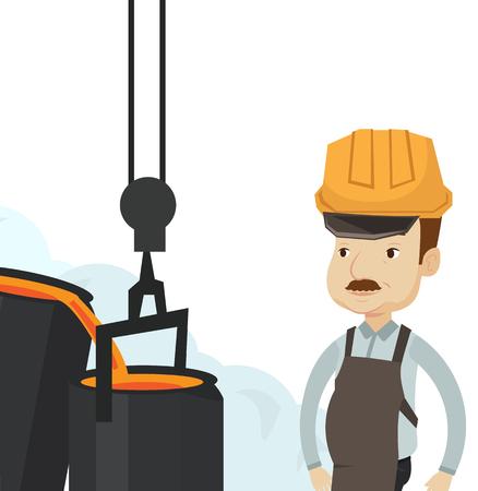 鋳物工場での作業で白人の鉄鋼労働者。鉄鋼労働者ファウンドリで製鉄を制御します。製鋼工場で鉄鋼労働者。ベクトル フラットなデザイン イラス  イラスト・ベクター素材