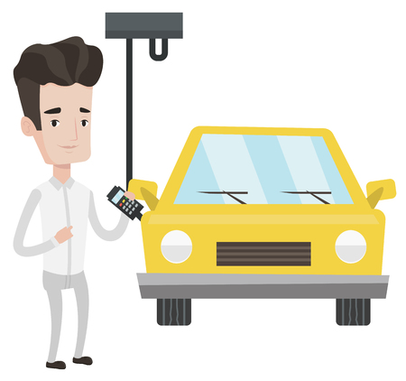 Caucasian worker of car factory. Engineer at work on car factory. Worker controlling automated assembly line for cars. Car production. Vector flat design illustration isolated on white background.