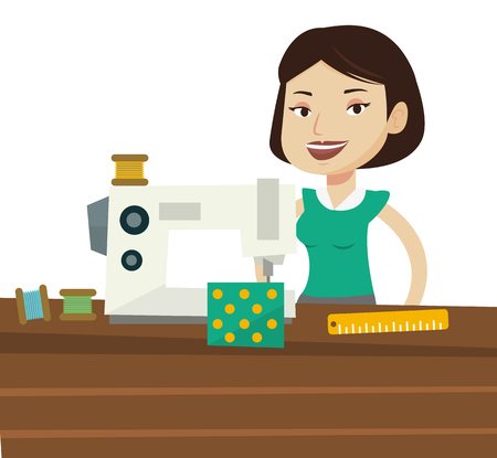 seamstress: Caucasian seamstress working in cloth factory. Seamstress sewing on industrial sewing machine. Seamstress using sewing machine at workshop. Vector flat design illustration isolated on white background Illustration
