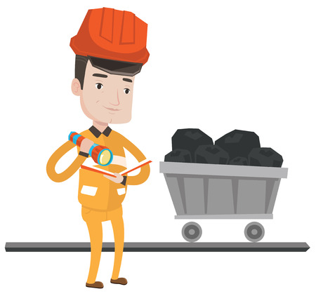 Miner checking documents with the flashlight on the background of trolley with coal. Mine worker in hard hat. Miner in the coal mine. Vector flat design illustration isolated on white background.
