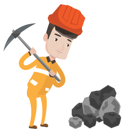 Kaukasische mijnwerker in bouwvakker die met een pikhouweel werken. Mijnwerker die bij de kolenmijn werkt. Jonge mijnwerker op het werk. Vector platte ontwerp illustratie op een witte achtergrond.