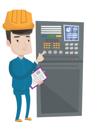 Man working on control panel. Worker in hard hat pressing button at control panel. Engineer standing in front of the control panel. Vector flat design illustration isolated on white background. Ilustração