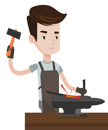 Blacksmith working metal with hammer on the anvil in the forge. Blacksmith at work in smithy. Blacksmith forging the metal on anvil. Vector flat design illustration isolated on white background