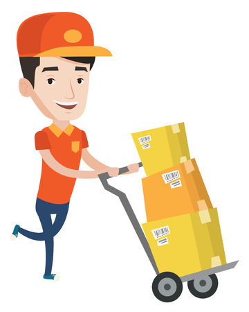 Young delivery postman with boxes on trolley. Delivery postman pushing trolley with cardboard boxes. Delivery postman delivering parcels. Vector flat design illustration isolated on white background. Ilustração