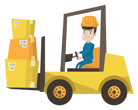 Caucasian warehouse worker loading cardboard boxes. Forklift driver at work in storehouse. Warehouse worker driving forklift at warehouse. Vector flat design illustration isolated on white background. Illustration
