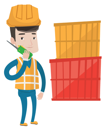 Port worker in hard hat talking on wireless radio. Port worker standing on cargo containers background. Port worker using wireless radio. Vector flat design illustration isolated on white background. Illustration