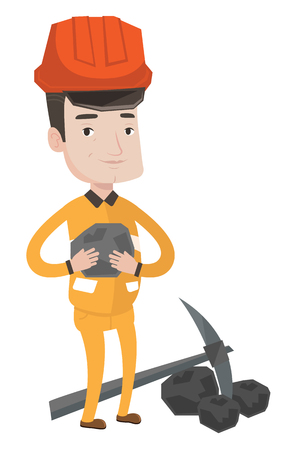 coal: Caucasian miner in hard hat holding coal in the hands. Miner with a pickaxe. Miner working at coal mine. Young happy miner at work. Vector flat design illustration isolated on white background.