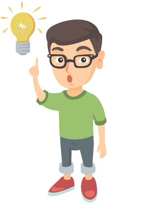 Caucasian smart little boy having a bright idea. Clever boy with open mouth pointing forefinger at the glowing lightbulb. Idea concept. Vector sketch cartoon illustration isolated on white background. Illustration
