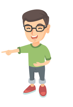 Caucasian boy in glasses bullying someone and pointing finger. Little laughing boy mocking and pointing his forefinger at something. Vector sketch cartoon illustration isolated on white background.