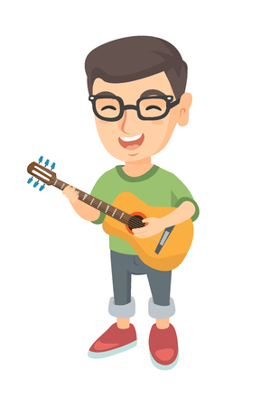 Caucasian cheerful boy in glasses singing and playing the acoustic guitar. Full length of happy boy with a guitar. Vector sketch cartoon illustration isolated on white background.