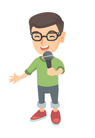 Caucasian little boy singing into a microphone. Smiling happy boy singing with a microphone. Boy holding a microphone. Vector sketch cartoon illustration isolated on white background. Illustration