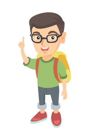 Cheerful caucasian boy pointing his forefinger up. Full length of happy smiling boy in glasses pointing forefinger up. Vector sketch cartoon illustration isolated on white background. Illustration