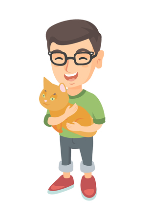 Caucasian happy boy in glasses holding a cat. Full length of cheerful little boy with a cat in his hands. Vector sketch cartoon illustration isolated on white background.