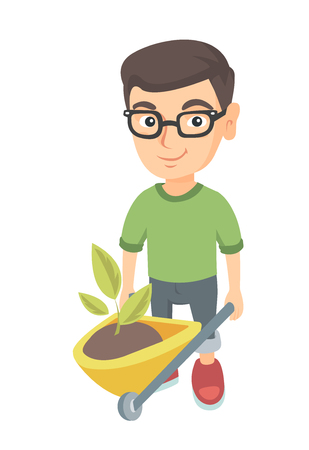 Caucasian boy in glasses pushing wheelbarrow with soil and plant. Little boy pulling wheelbarrow full of soil with plant. Vector sketch cartoon illustration isolated on white background.