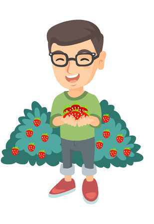 Caucasian boy in glasses holding the berries of fresh strawberries in his hands. Little cheerful boy with handful of strawberries. Vector sketch cartoon illustration isolated on white background. Ilustração