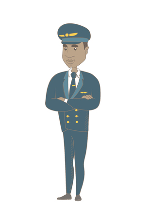 African-american confident airplane pilot in uniform standing with folded arms. Full length of young confident pilot with folded arms. Vector sketch cartoon illustration isolated on white background. Illustration