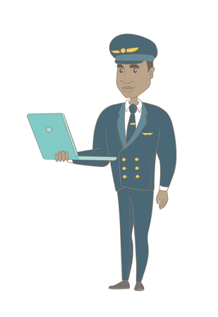 Young african-american airplane pilot in uniform using a laptop. Airplane pilot working on a laptop. Cheerful pilot holding a laptop. Vector sketch cartoon illustration isolated on white background.