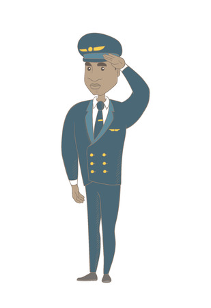 African-american airplane pilot in uniform gives salute. Young airplane pilot saluting. Pilot with a serious facial expression saluting. Vector sketch cartoon illustration isolated on white background