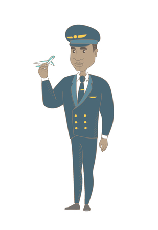 Young african-american airplane pilot holding the model of airplane in hand. Full length of pilot in uniform with the model of airplane. Vector sketch cartoon illustration isolated on white background Illustration