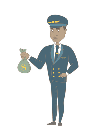 Young african-american airplane pilot showing money bag with dollar sign. Airplane pilot holding money bag. Vector sketch cartoon illustration isolated on white background.