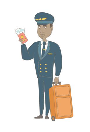 Young african steward in uniform showing passport and airplane ticket. Steward holding passport with airplane ticket and suitcase. Vector sketch cartoon illustration isolated on white background.