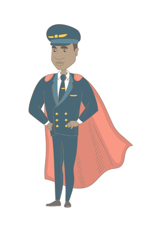 African-american airplane pilot wearing red superhero cloak. Young pilot dressed as superhero. Powerful pilot superhero in red cloak. Vector sketch cartoon illustration isolated on white background. Illustration