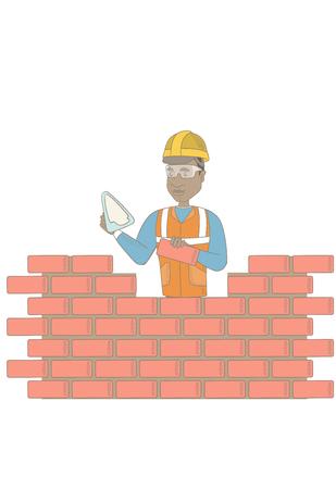 制服とハードの帽子でアフリカ系アメリカ人の職人。若い bicklayer はヘラとレンガを使用します。建物のレンガの壁の煉瓦工。ベクター スケッチ漫