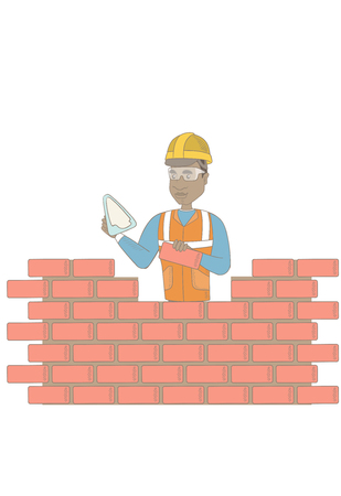 African-american bricklayer in uniform and hard hat. Young bicklayer working with spatula and brick. Bricklayer building brick wall. Vector sketch cartoon illustration isolated on white background.
