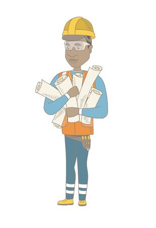 Young african-american engineer in hard hat holding many twisted blueprints. Vector sketch cartoon illustration isolated on white background.