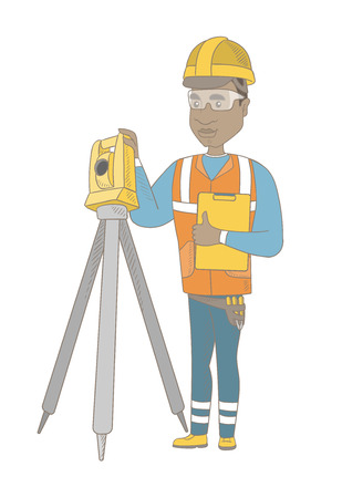 African surveyor builder holding clippboard and working with theodolite. Young surveyor standing near theodolite transit equipment. Vector sketch cartoon illustration isolated on white background. Illustration