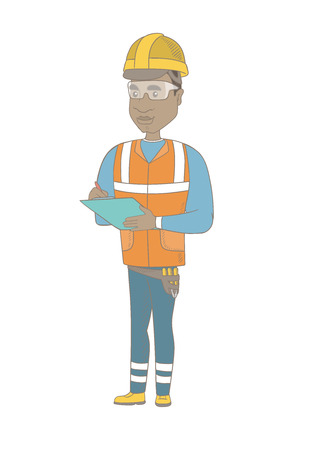 checklist: African building inspector making some notes in clipboard. Full length of young building inspector in uniform and hard hat at work. Vector sketch cartoon illustration isolated on white background. Illustration