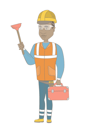 African-american plumber with toilet plunger and tool box. Full length of young plumber in hard hat holding plunger and tool box. Vector sketch cartoon illustration isolated on white background.