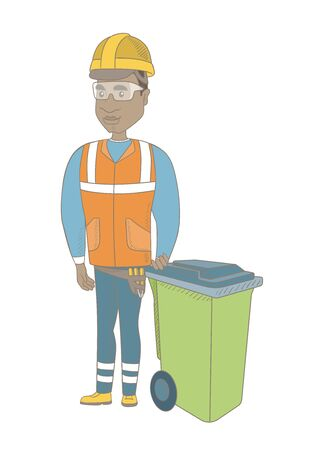 African-american builder in hard hat standing near waste bin. Full length of young builder pushing waste bin. Vector sketch cartoon illustration isolated on white background.