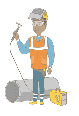 African-american welder in hard hat and protective mask. Full length of young welder working on a gas welding machine. Vector sketch cartoon illustration isolated on white background. Иллюстрация