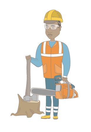 Young african lumberjack holding chainsaw. Lumberjack in workwear and hard hat standing near stump with axe. Lumberjack chopping wood. Vector sketch cartoon illustration isolated on white background.