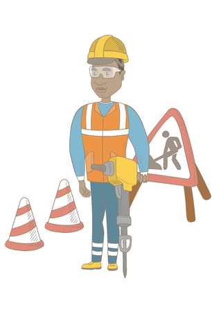 African builder worker working with pneumatic hammer drill equipment at construction site. Young builder using a pneumatic hammer. Vector sketch cartoon illustration isolated on white background. Illustration