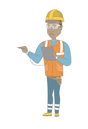 電圧出力の測定ハード帽子の若いアフリカ電気の技師。  イラスト・ベクター素材
