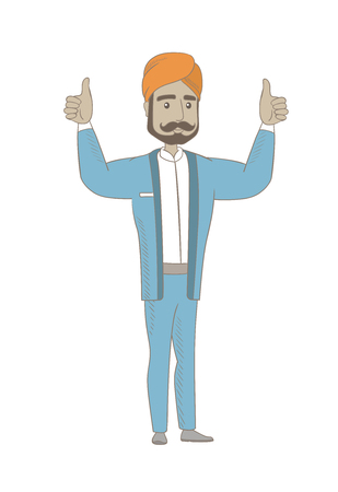 Successful hindu businessman standing with raised arms up. Successful businessman giving thumbs up. Businessman celebrating success. Vector sketch cartoon illustration isolated on white background. Vectores