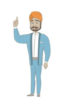 came: Hindu businessman with open mouth pointing finger up. Full length of young businessman with open mouth came up with business idea. Vector sketch cartoon illustration isolated on white background.